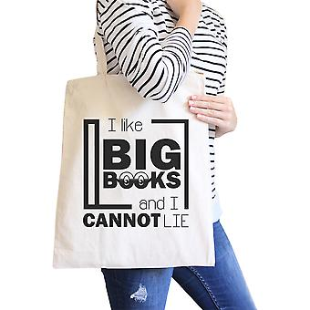 I Like Big Books Cannot Lie Natural Cute Canvas Tote Bag For School