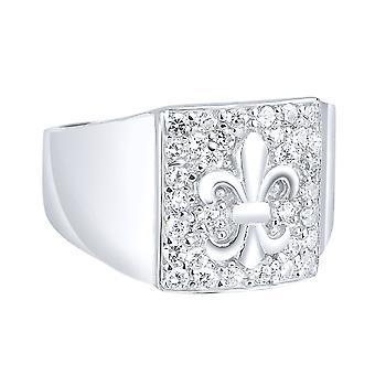 Sterling 925 Silver pave ring - Fleur de lis
