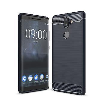 Nokia 9 TPU case carbon fiber optics geborsteld beschermende case blauw