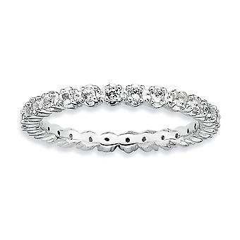 925 Sterling Silver Polished Prong set Patterned Rhodium plated Stackable Expressions White Topaz Ring Jewelry Gifts for