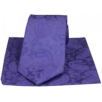 David Van Hagen luxo Paisley gravata e lenço Set - lilás
