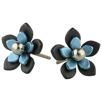 Ti2 Titanium Black Back Five Petal Flower Stud Earrings - Sky Blue