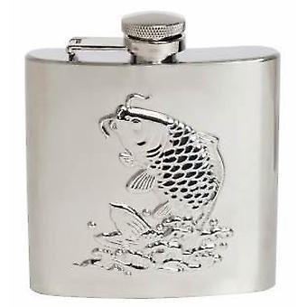 David Van Hagen Fish 6oz Hip Flask - Silver