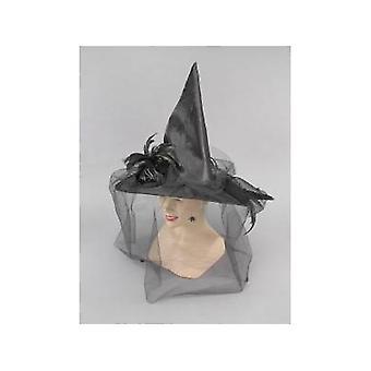 Bnov strega cappello con piume e reticolato nero