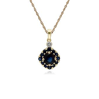 Cluster Round Sapphire & Diamond Pendant Necklace in 9ct Yellow Gold 135P1911029