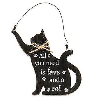 Purrfect Pals Hanging Cat Plaque Love