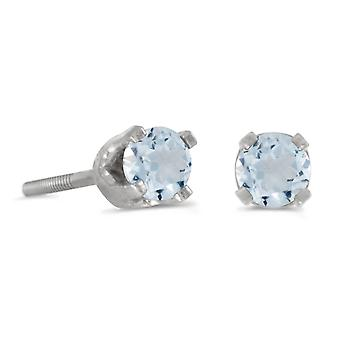 LXR 3mm Petite Round Aquamarine Screw Cap Kolczyki w 14k White Gold 0.14ct