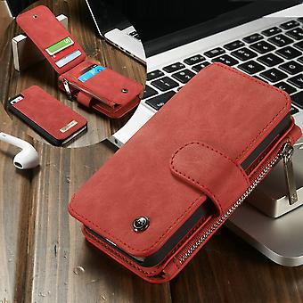 CASEME iPhone SE 5/5s Retro leather wallet case-red