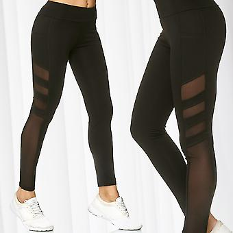 Women's Mesh Leggings Pockets Bags Sport Pants Stretch Tights Fitness Trousers