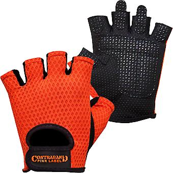 Contraband Sports 5307 Pink Label Diamond Mesh Weight Lifting Gloves - Orange