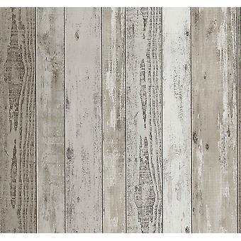 Efecto madera Wallpaper apenado grano madera paneles realistas vinilo P + S