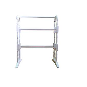 White Rubber Wooden Towel Rail 63x30x78cm Floor Standing Bathroom Rail