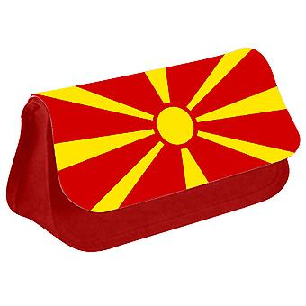 Macedonia Flag Printed Design Pencil Case for Stationary/Cosmetic - 0102 (Red) by i-Tronixs