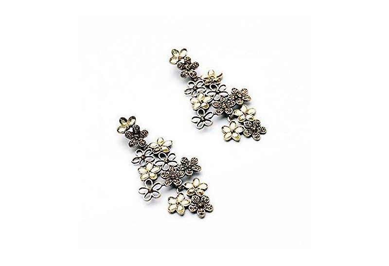 Long Bohemian Statement Full Bloom Dangle Drop Earrings with Zircon