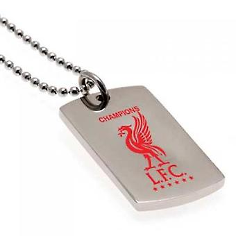 Campeones de Liverpool de Europa Color Crest Dog Tag & Chain