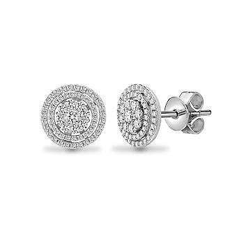 Jewelco London Solid 18ct White Gold Pave Set Round G SI 0.88ct Diamond Double Halo Cluster Stud Earrings 11mm