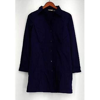 Motto Long Sleeve Button Down w/ Smocked Details Purple Top A86082