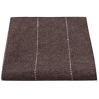 Luxury Herringbone Chocolate Brown Pocket Square, Handkerchief