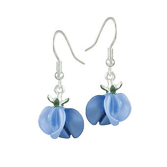 Eternal Collection Sweet Pea Blue Enamel Silver Tone Flower Drop Pierced Earrings