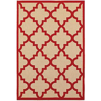 Cayman 660r9 sand/ red indoor/outdoor rug rectangle 7'10
