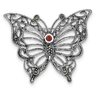 925 Sterling ezüst texturált marcasite piros CZ köbös cirkónium szimulált gyémánt pillangó angyal szárnyak pin ékszerek ajándékok