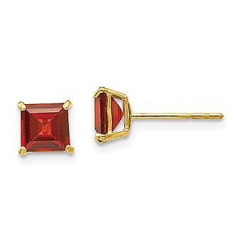 14k Yellow Gold Polished Garnet 4mm Square Post Earrings Measures 5x5mm Wide Jewelry Gifts for Women