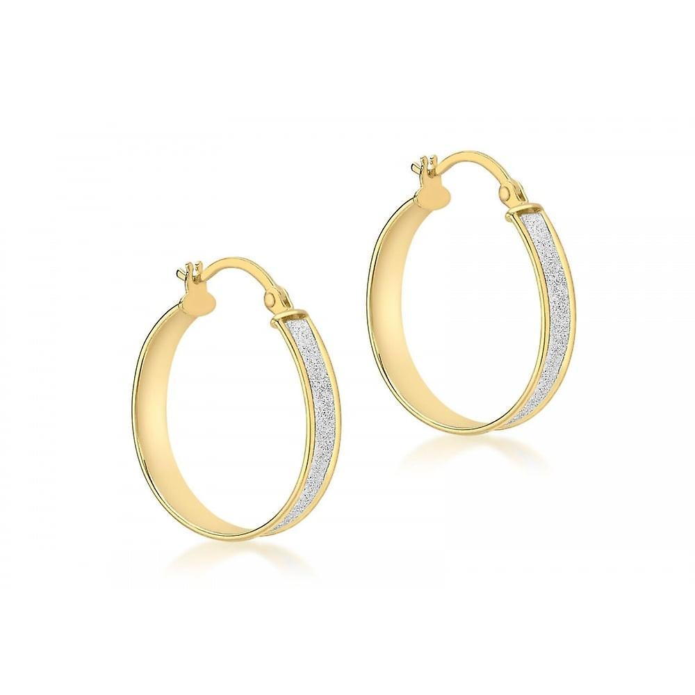 Eternity 9ct Gold Round Stardust Creole Hoop Earrings