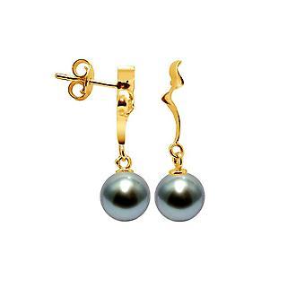 Øreringe af kvinder hængende perler af Tahiti 8 mm og gul guld 750/1000