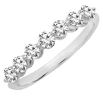 10K Round Morganite Ladies 7 Stones Wedding Band Ring, White Gold