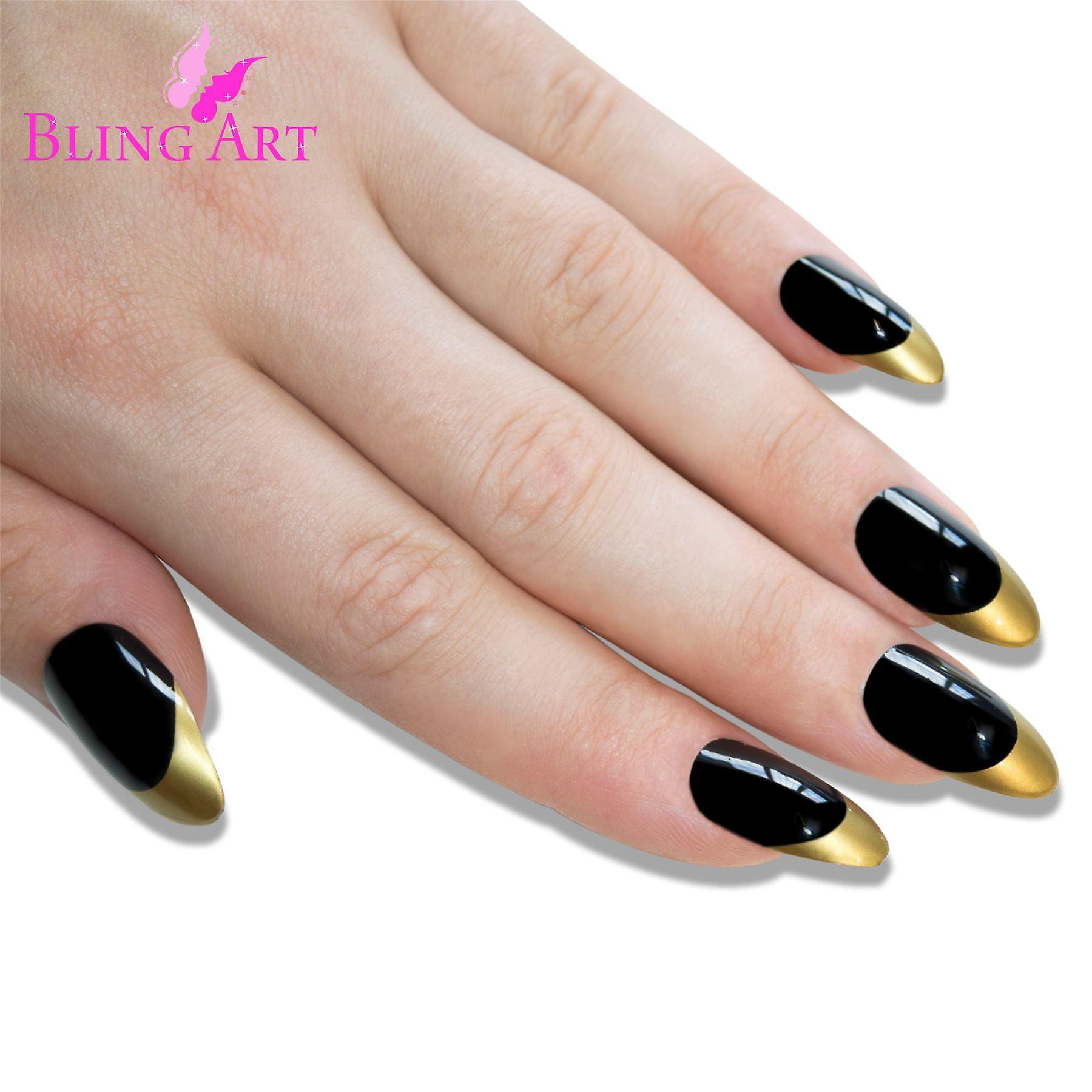 False nails bling art black gold almond stiletto long fake acrylic tips with glue