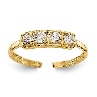 14k Yellow Gold Polished CZ Cubic Zirconia Simulated Diamond Toe Ring Jewelry Gifts for Women