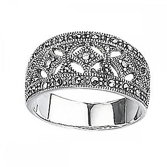Elements Silver Marcasite Wide Ring R2012Z360