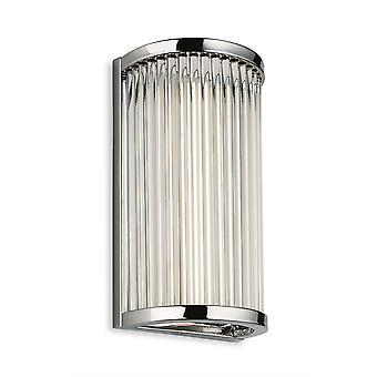 Firstlight Jewel geïntegreerde LED badkamer flush muur licht chroom met heldere glazen staven IP44 3705CH