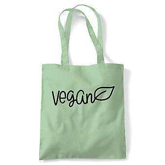 Vegan Leaf, Tote - Vegan Reusable Canvas Bag Gift
