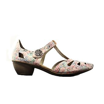 Rieker 43750-90 White Multi Coloured Womens Heeled Summer Shoes