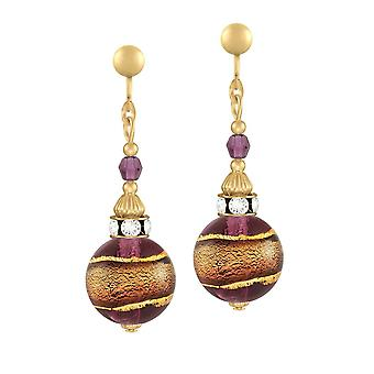 Eternal Collection Focale Amethyst Murano Glass Gold Tone Drop Screw Back Clip On Earrings