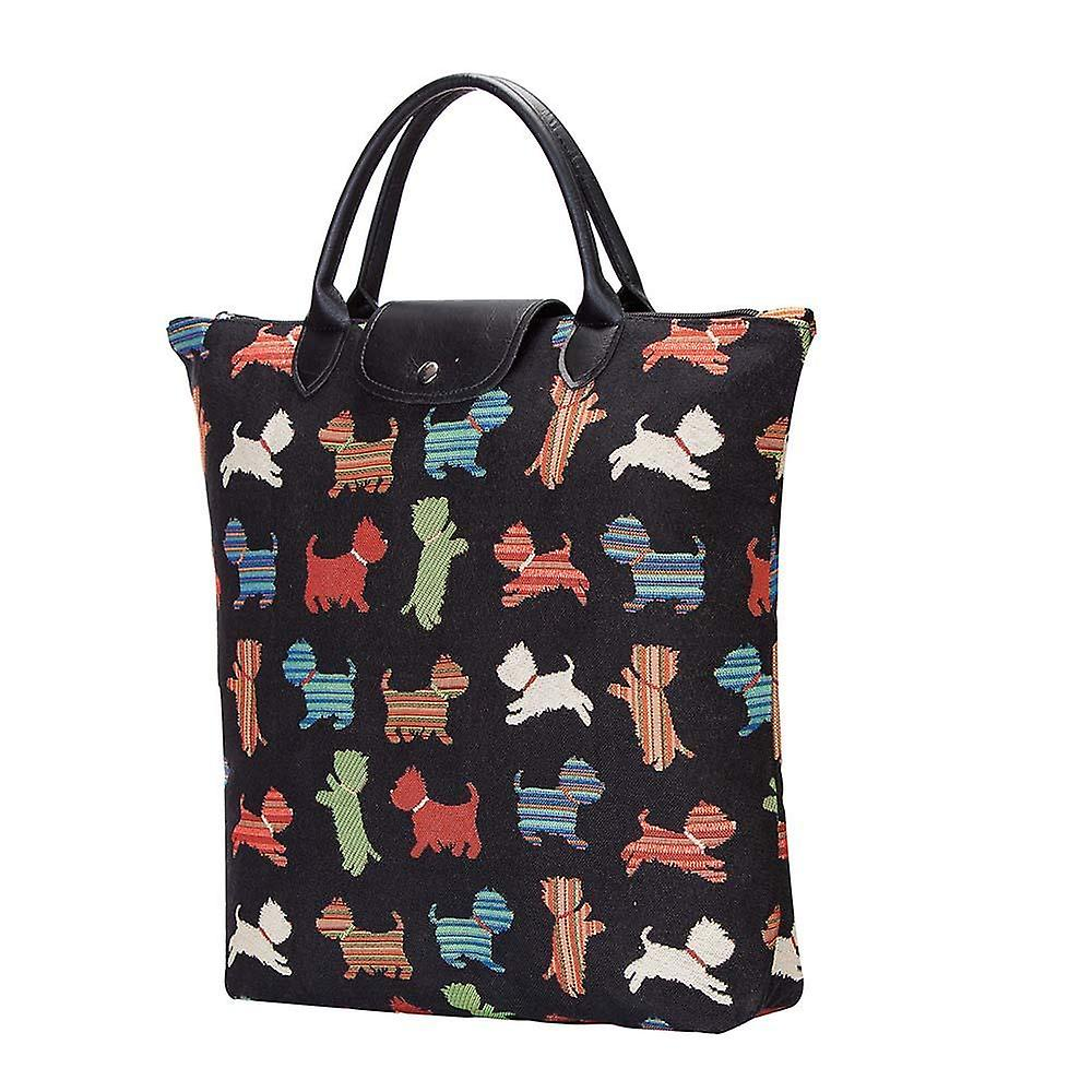 Playful puppy foldaway shopping bag by signare tapestry / fdaw-puppy
