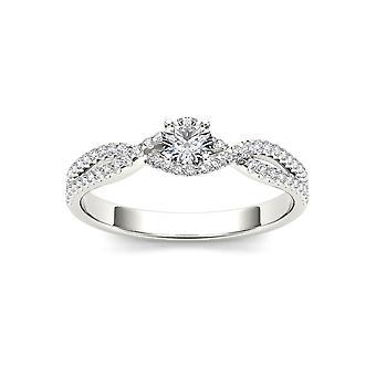 IGI certifié 10 K or blanc 2/5 Ct TDW diamant classique Split-tige bague de fiançailles (I-J, I2)