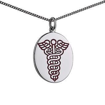 Silver 25x20mm oval medical alarm Disc Pendant with vitreous red enamel with a 1.3mm wide curb Chain 24 inches