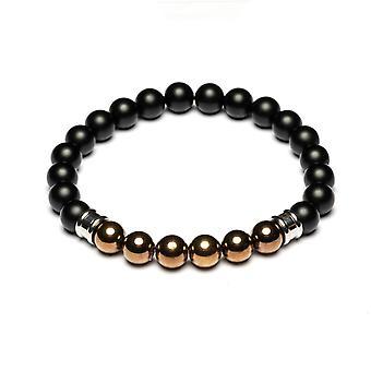 Gemini M3 Bracelet - Melas Black Pearls and H matite Cuivr Men