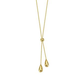14k Yellow Gold Tear Drop Box Chain Lariat Necklace 17 Inch Jewelry Gifts for Women - 2.3 Grams