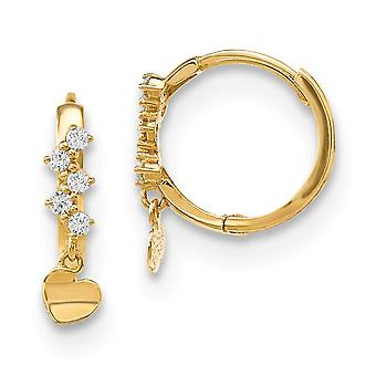 14k Madi K CZ Cubic Zirconia Simulated Diamond Love Heart Dangle Hinged Hoop Earrings Measures 17x13.4mm Wide 3.2mm Thic