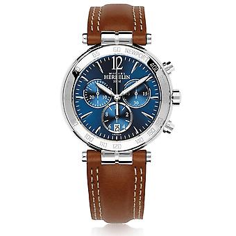 Michel Herbelin 37654-AP15GO Men's Newport Chronograph Brown Strap Wristwatch