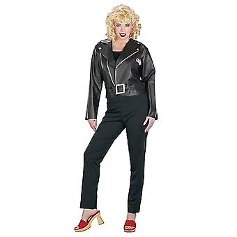 Sandy Bad Grease 1950s 1960s High School Retro Cool Black Jacket Womens Costume
