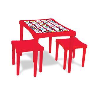 Pilsan Story Table with Two Stools Red
