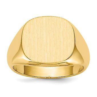 14k Sarı Altın Açık arka Gravürlü Erkek Signet Yüzük Boyutu 10 Erkekler için Takı Hediyeler - 8.0 Gram