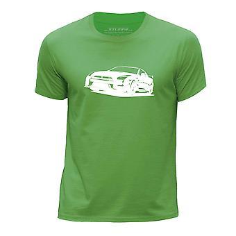 STUFF4 Boy's Round Neck T-Shirt/Stencil Car Art / GT-R R35/Green