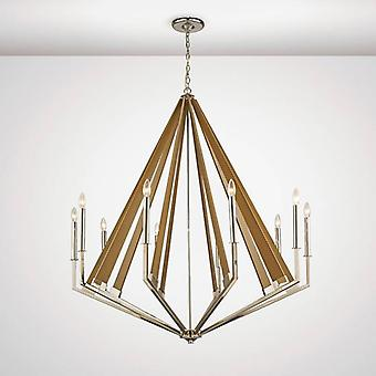 Hilton Decagonal Pendant 10 Light E14 Polished Nickel/taupe Wood (article Nécessite l'assemblage)