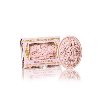 Saponificio Artigianale Fiorentino Handmade Soap - Rose - Filigree Décoré dans la boîte à cadeaux 125g