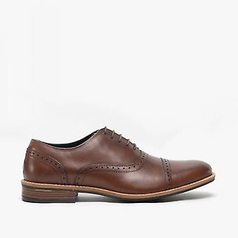 Roamers Thaddeus Mens Leather Capped Brogue Shoes Brown
